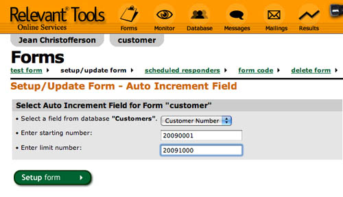 Relevant Tools :: Auto Increment Fields in Relevant Tools Web Forms