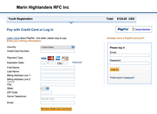 PayPal's standard interface payment screen
